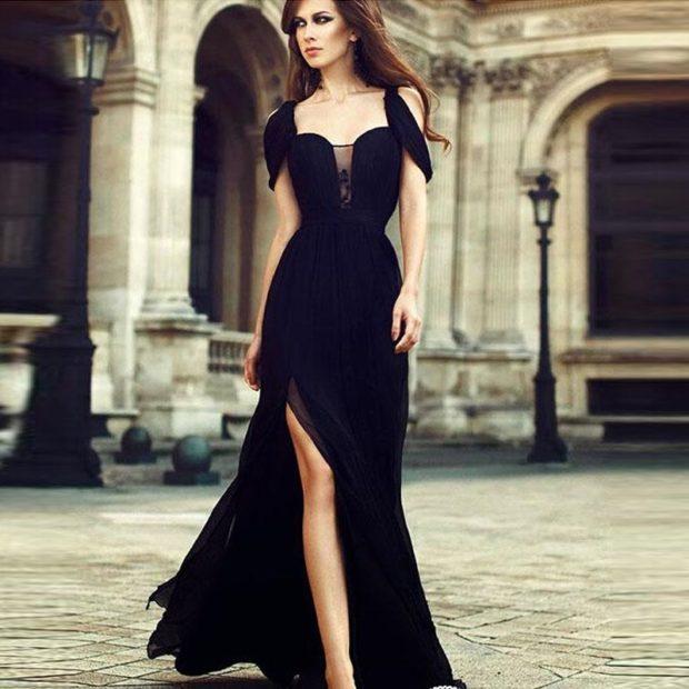 модный лук 2018 2019: платье черное