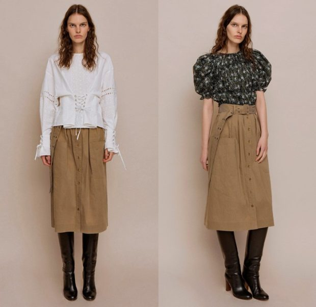 модный лук 2019-2020: юбка бежевая
