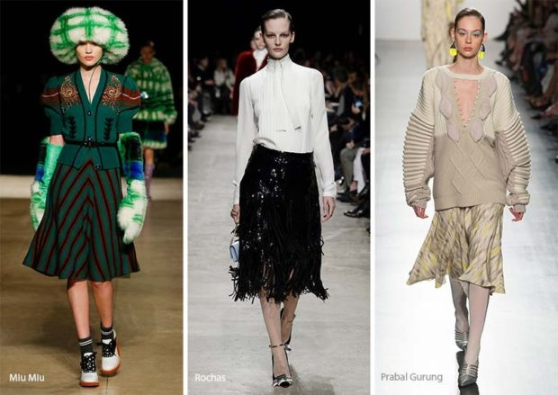 модный лук 2018-2019: юбки по колено