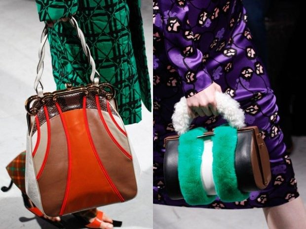 модный лук 2018-2019 женский фото: сумка с мехом