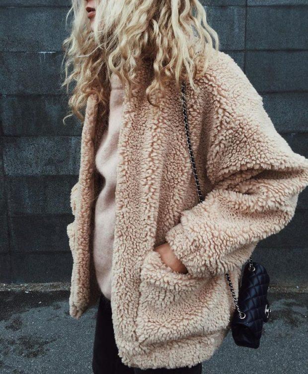 зимние луки: шуба искусственная светлая с карманами