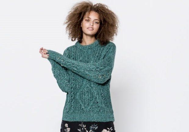 зимние луки: свитер зеленый