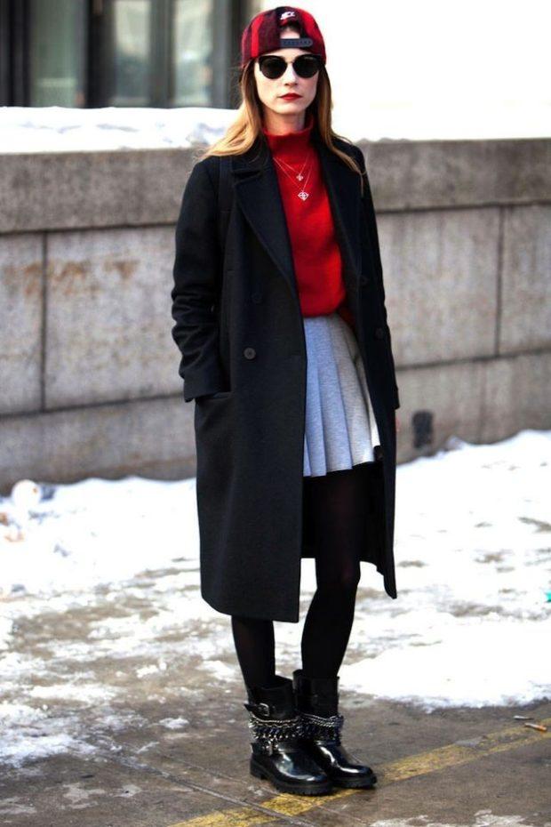 зимние луки: юбка в складку