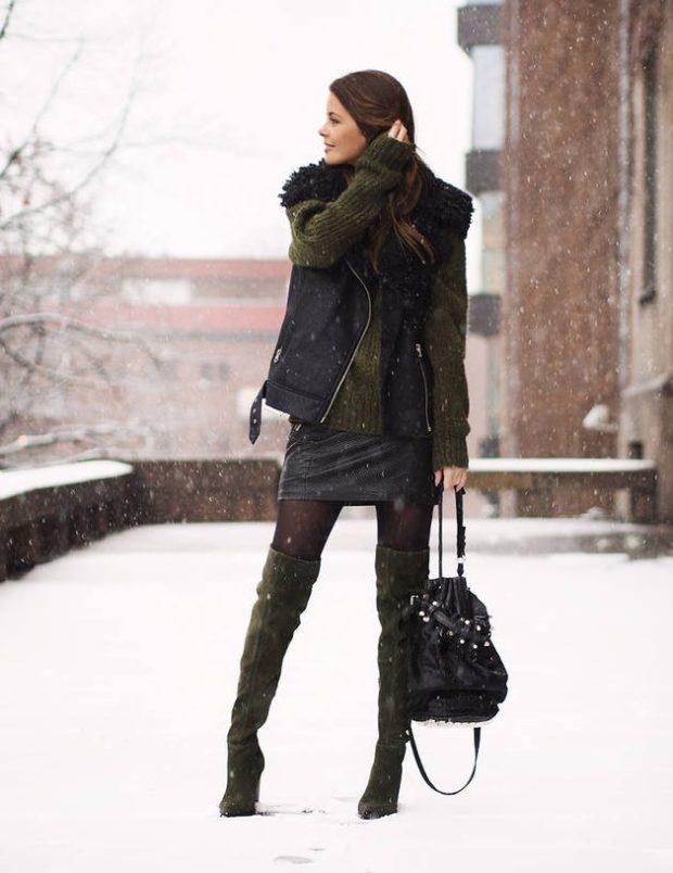 зимние луки: юбка короткая