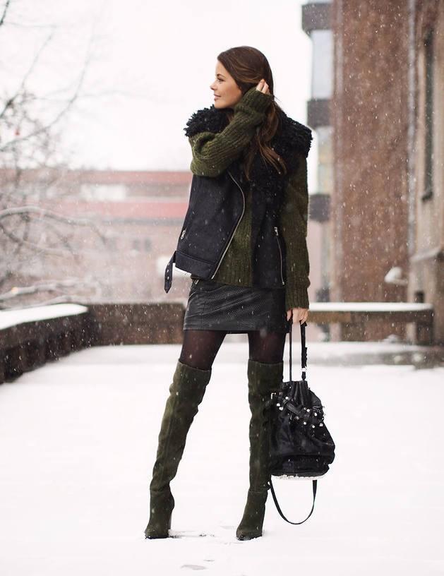 юбка зимняя короткая зимние луки 2018 2019