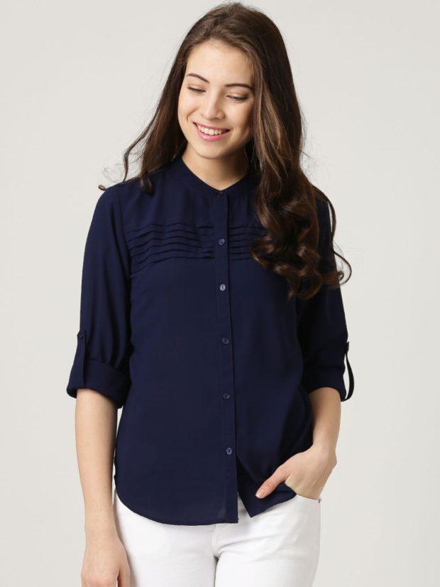 зимний лук: рубашка синяя