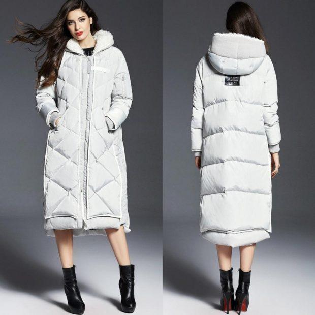 пуховик белый длинный зимние луки 2018 2019