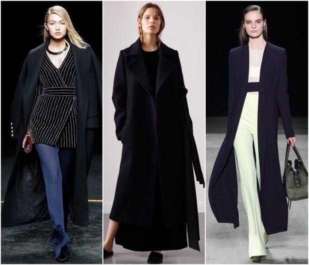 зимний лук: пальто темное длинное
