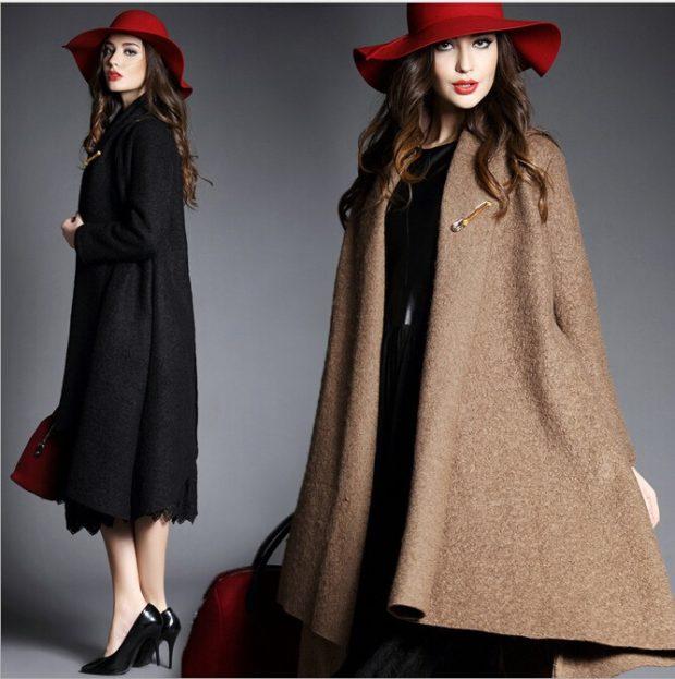 зимний лук: пальто черное коричневое