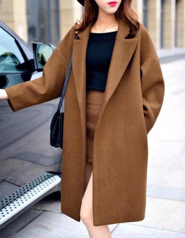 зимний лук: пальто коричневое