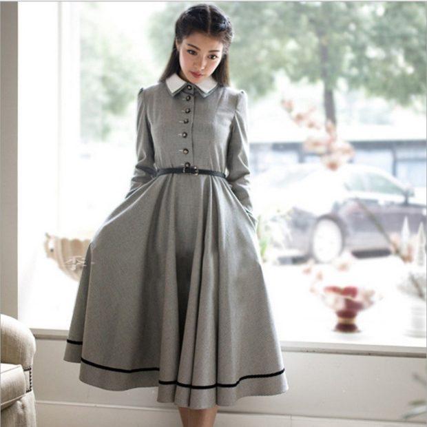 платье серое с воротником зимний лук сезон 2018 2019