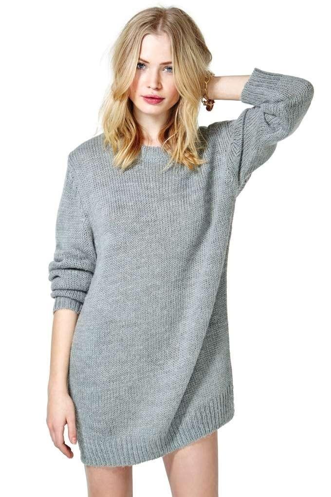 зимний лук 2018 2019 платье свитер серое