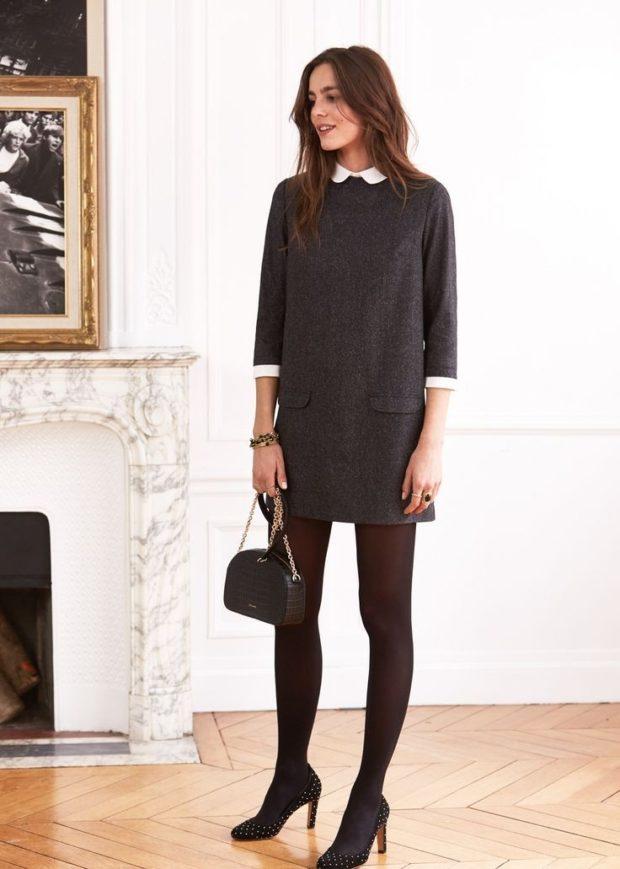 Луки осень-зима: платье с воротничком
