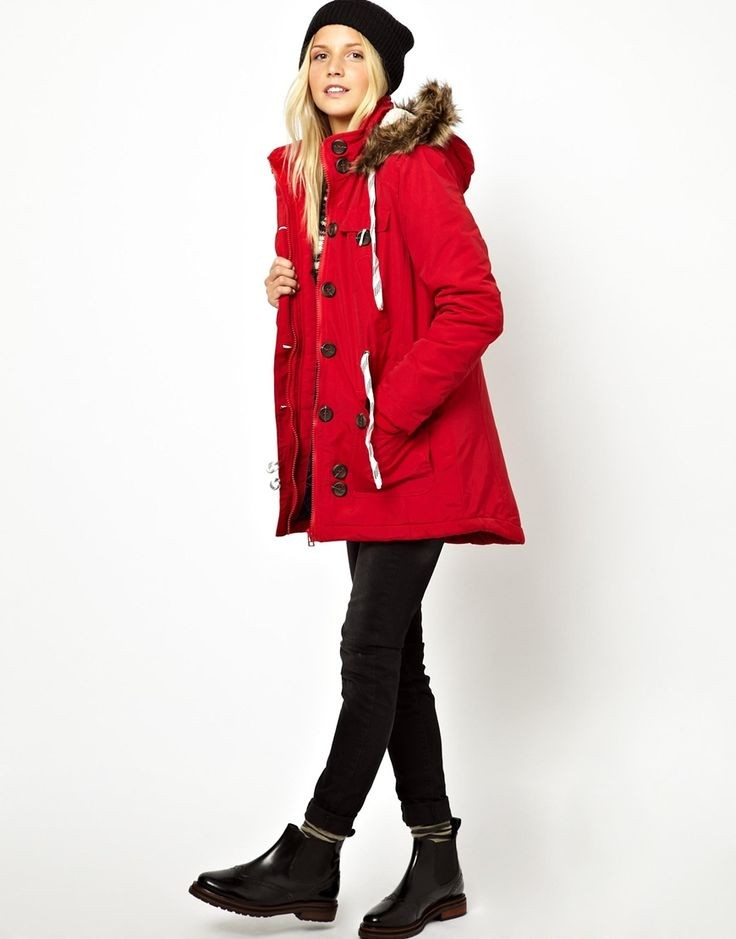 куртка красная оверсайз зимние луки 2018 2019
