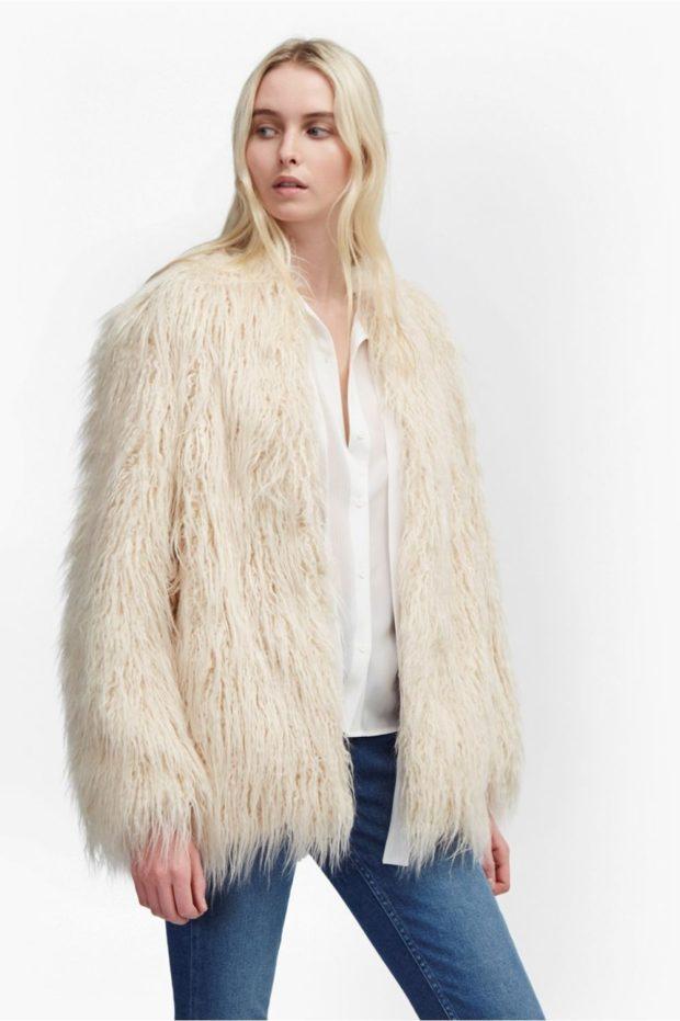 зимние луки: шуба искусственная белая