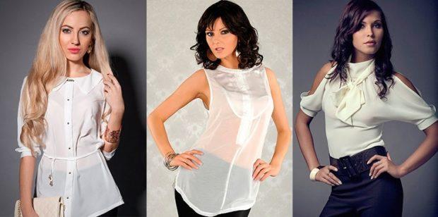 модные блузки из шифона 2018-2019 белые с рукавами и без