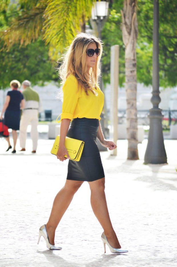 модные блузки из шифона ярко желтая