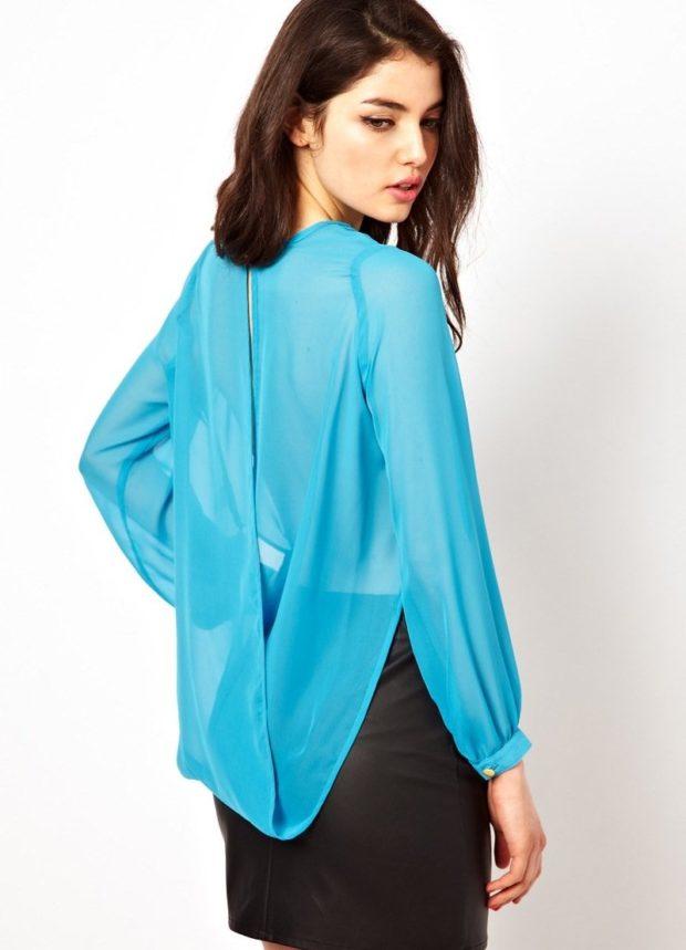 модные блузки из шифона синяя под юбку карандаш