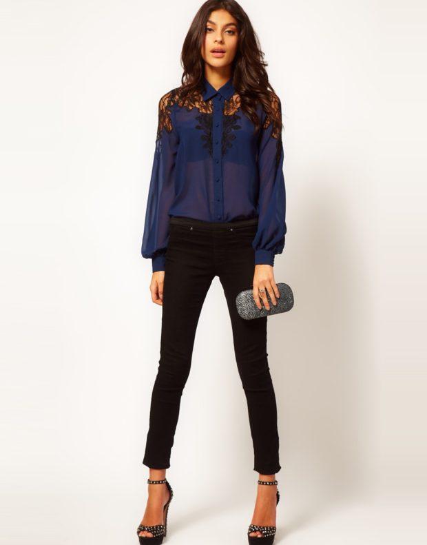 модные блузки из шифона темная синяя под короткие штаны