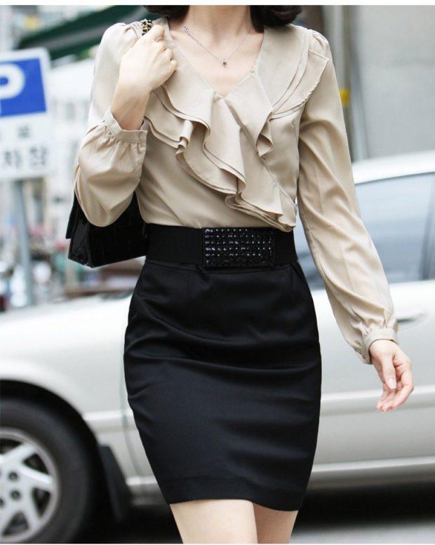 модные блузки из шифона с воланами под юбку карандаш