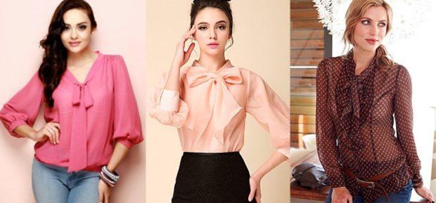 модные блузки из шифона 2018-2019 с бантом розовая персиковая в горох