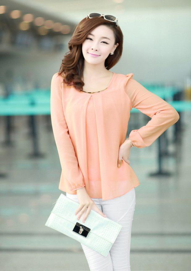 модные блузки из шифона персиковая с длинным рукавом