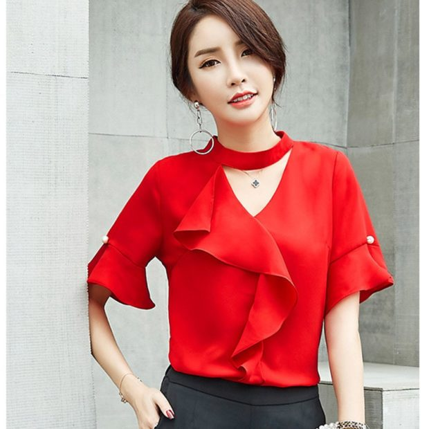 модные блузки из шифона 2018 красная с воланами