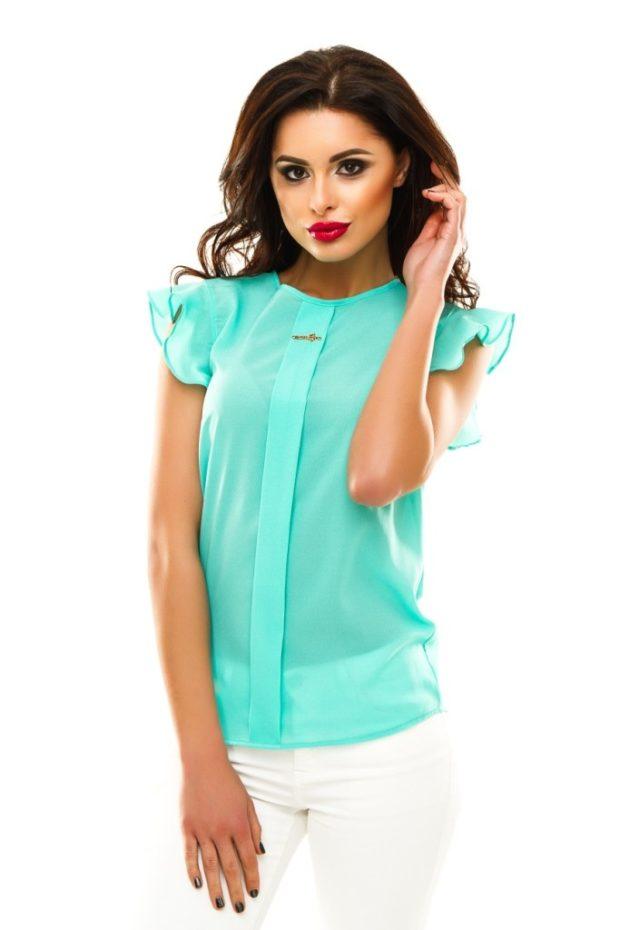 модные блузки из шифона бирюзовая рукав короткий