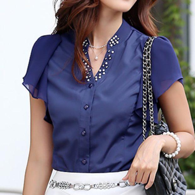 модные блузки из шифона синяя короткий рукав
