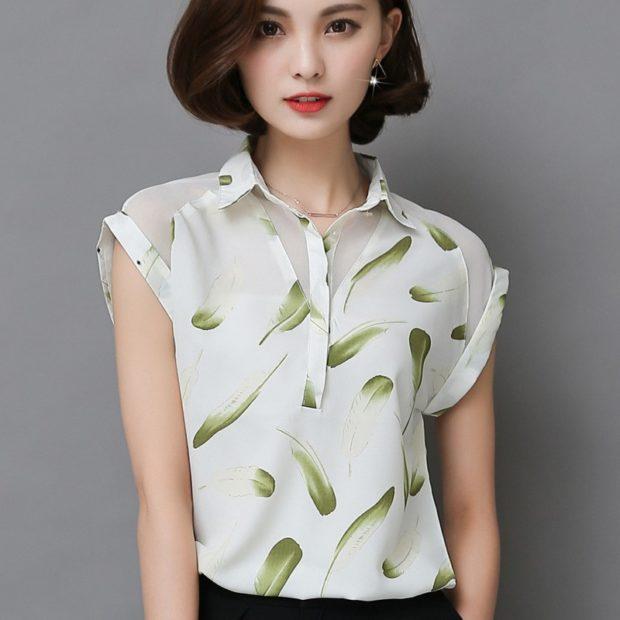 модные блузки из шифона белая в рисунок рукав короткий