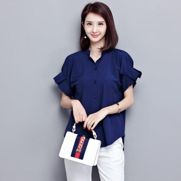 модные блузки из шифона 2018 синяя рукав с воланами короткий