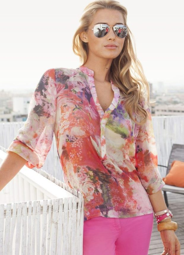 модные блузки из шифона 2018-2019 цветная короткий рукав