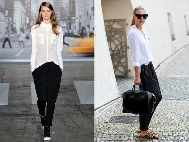 модные блузки из шифона белые классические