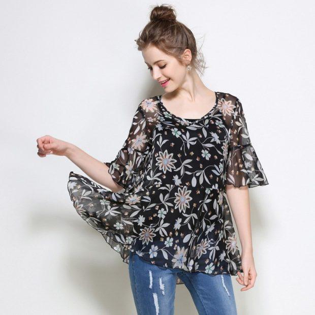 модные блузки из шифона широкая черная в цветы