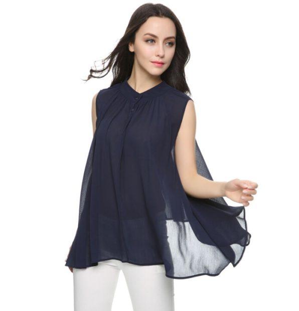 модные блузки из шифона 2018 черная без рукава свободный крой