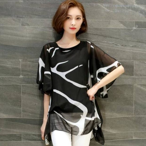 модные блузки из шифона 2018 свободная блузка черная с белым
