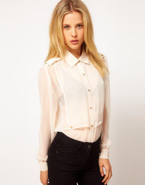 модные блузки из шифона 2018 бельевой стиль нежная бежевая