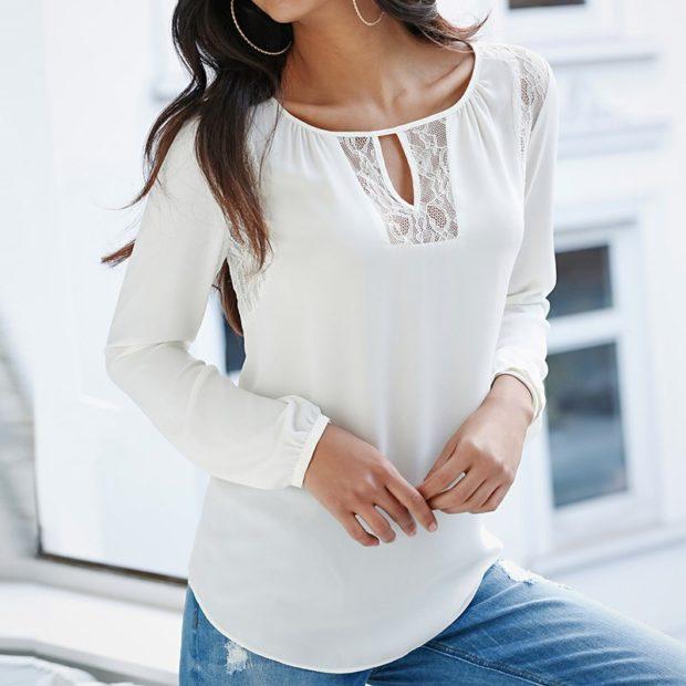 модные блузки из шифона белая нежная