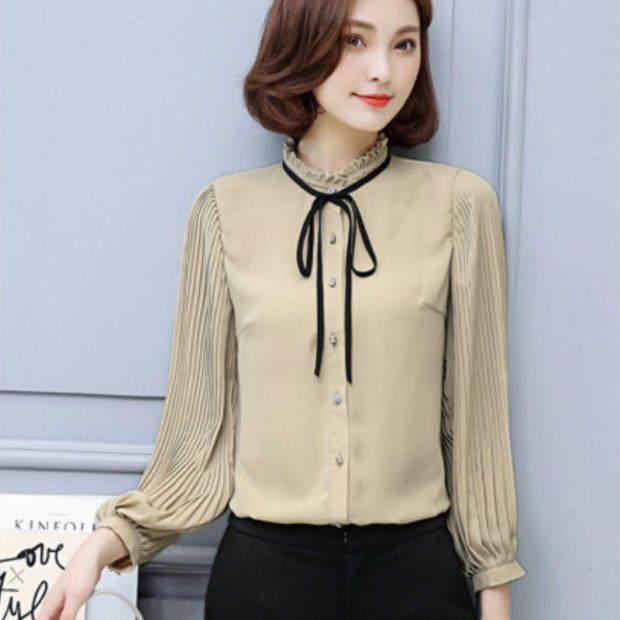 модные блузки из шифона с бантом бежевая