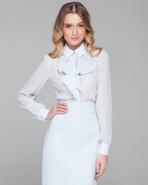 модные блузки из шифона белая с бантом длинный рукав