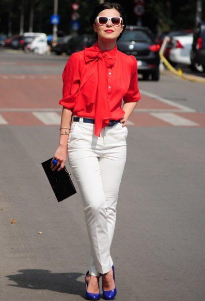 модные блузки из шифона 2018 красная блузка с бантом