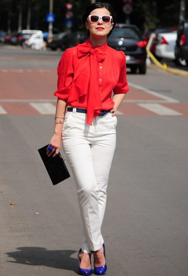 модные блузки из шифона красная блузка с бантом