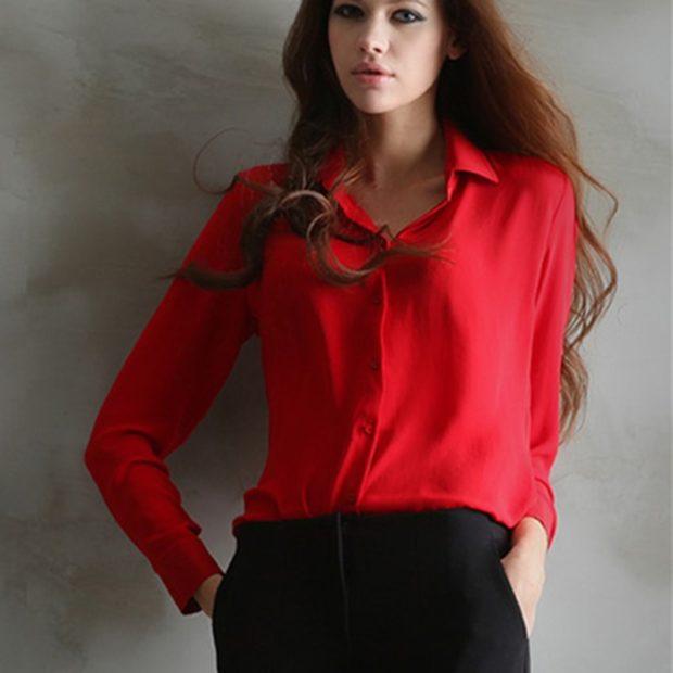 модные блузки из шифона красная классика