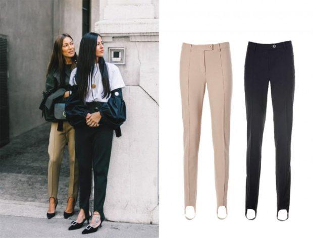модные брюки 2018 штрипки бежевые черные