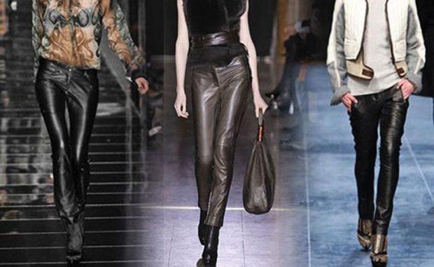 модные брюки 2018 кожаные черные под блузки майки