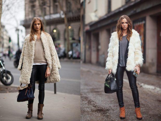 модные брюки 2018 кожанные под обувь низкий ход