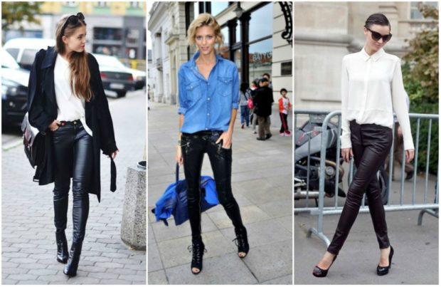 модные брюки 2018-2019 кожаные под каблук
