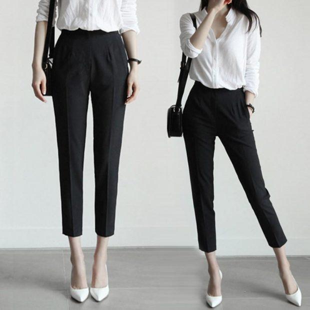 модные брюки 2018-2019 черные короткие для офиса