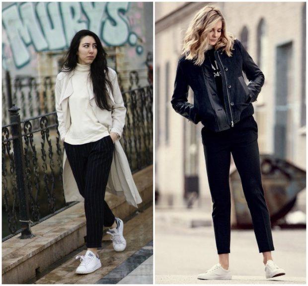модные брюки 2018 черные короткие под спортивную обувь