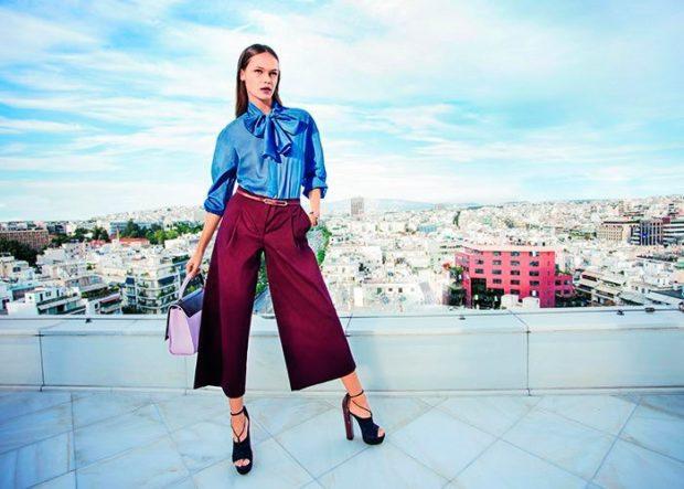 модные брюки 2018-2019 кюлоты бордовые под каблук